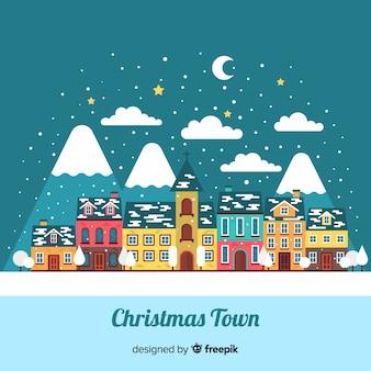Christmas flat village background