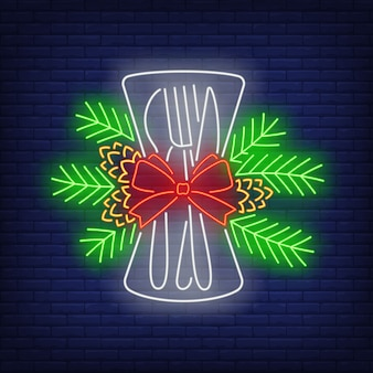 Christmas flatware neon sign