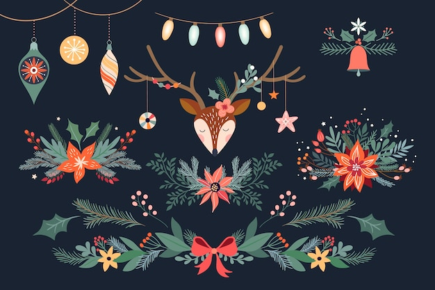 Christmas floral collection with deer, bouquets and garland