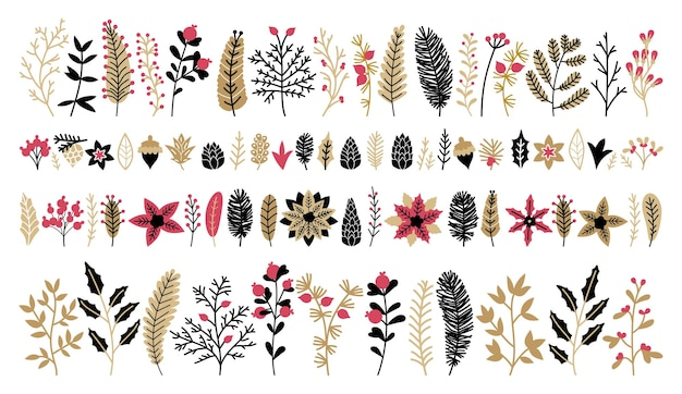 Christmas floral collection with golden design elements