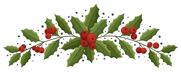 Christmas floral composition with holly berry.