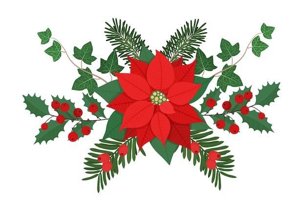 겨울 식물과 열매와 크리스마스 꽃 조성입니다.