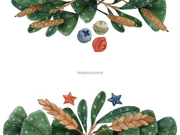 見出しの水彩画のための冬の植物とクリスマスの花の装飾
