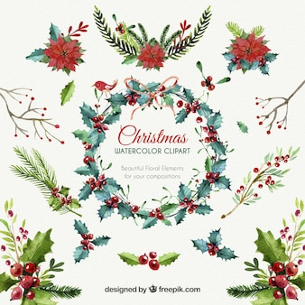 christmas floral elements - Free Christmas Clipart