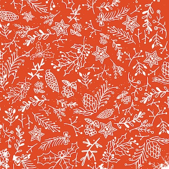 Christmas floral hand drawn seamless pattern