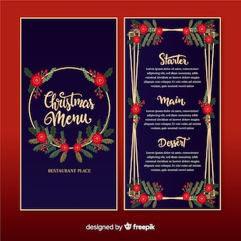 Christmas floral menu on dark blue background