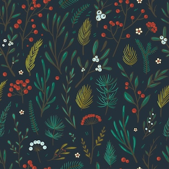 Christmas floral pattern beautiful vector seamless pattern with berries leaves spruce and fir