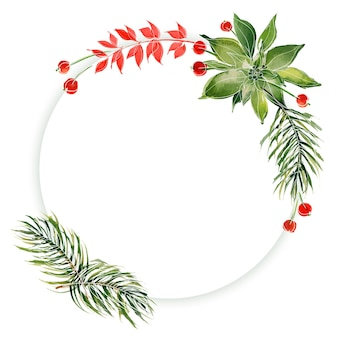 Christmas floral round frame with ale branches and poinsettia. decor for cute christmas and new year greetings and invitations
