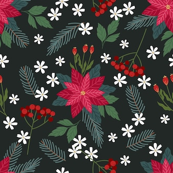 Christmas floral seamless pattern in flat design