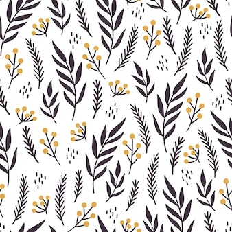 Christmas floral seamless pattern. hand drawn style illustration.