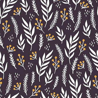 クリスマスの花のシームレスなパターン。手描きスタイルのイラスト。