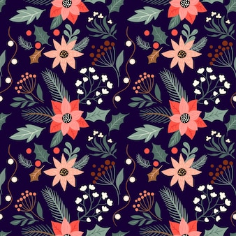 Christmas floral seamless pattern with poinsettia and seasonal plants winter design