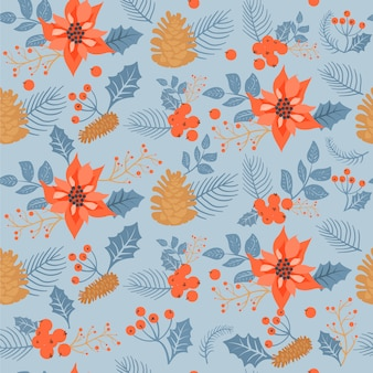 Christmas floral seamless pattern.