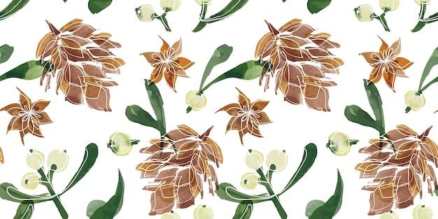 크리스마스 꽃 추적 수채화 원활한 패턴
