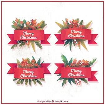 Рождественские цветочные акварель значки