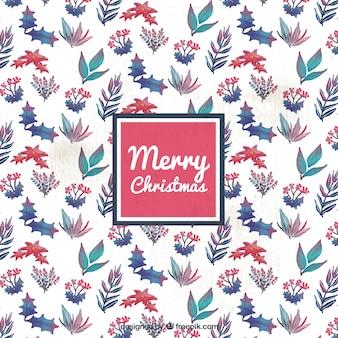 크리스마스 꽃 수채화 패턴