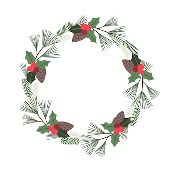 ヒイラギの松ぼっくりファーツリーと松の枝とクリスマス花輪ベクトルグリーティングカード