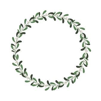 ヤドリギの枝が付いているクリスマスの花の花輪。