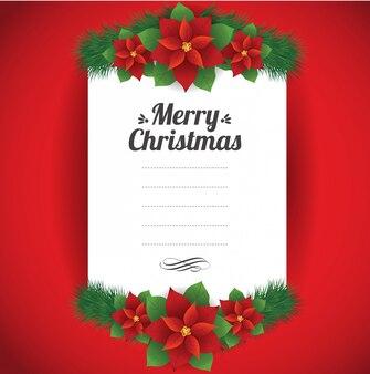クリスマスフラワーカードテンプレート