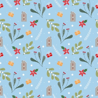 Christmas flower and plants seamless pattern