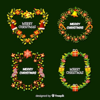 Christmas flower and wreath collection flat  design style