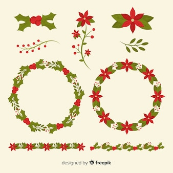 Christmas flower & wreath collection in flat design