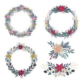 Collezione di fiori e ghirlande natalizie in design piatto