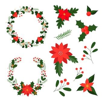 フラットなデザインのクリスマスフラワー&リースコレクション