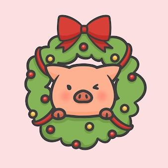 Christmas flower wreath decoration and pig hand drawn cartoon