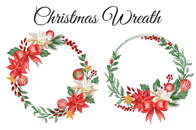 Christmas flower wreath happy new years floral clipart