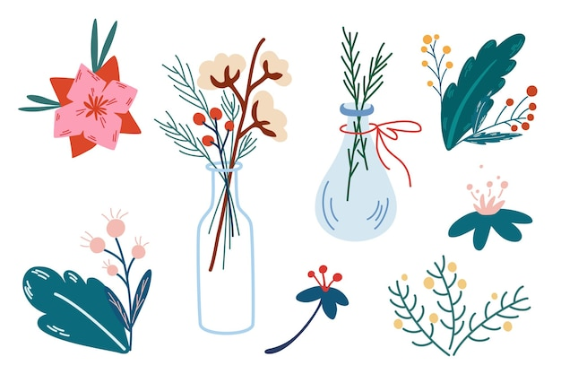Christmas flowers and decorations collection. vases with sprigs of cotton, berries and ribbons. design elements for winter holiday season new year event. cartoon vector illustration.