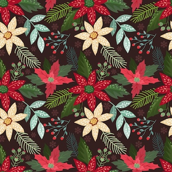 Christmas flowers and leaf on dark red background seamless pattern.