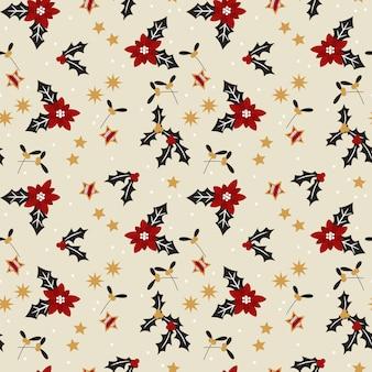 Christmas flowers seamless pattern.
