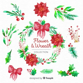 Christmas flowers and wreaths set