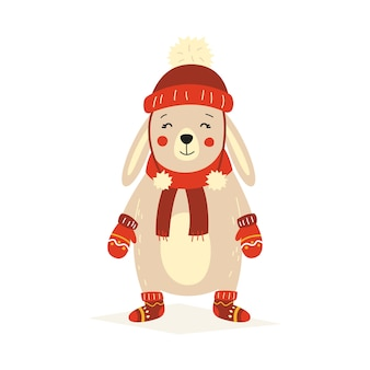 赤い帽子、ミトン、フェルトブーツのクリスマスふわふわ白い立っているウサギ。白い孤立した背景のベクトル図。