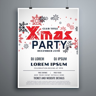 Christmas flyer design template with red and black snowflakes