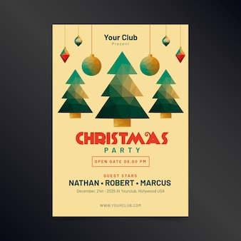Christmas flyer in polygonal style template