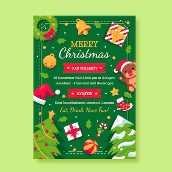 Christmas flyer poster template in flat design