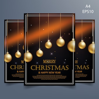Christmas flyer template on black background