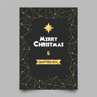 Christmas flyer template in polygonal style