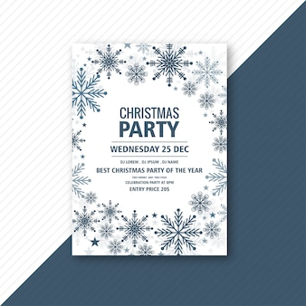 Christmas flyer template with snowflakes card