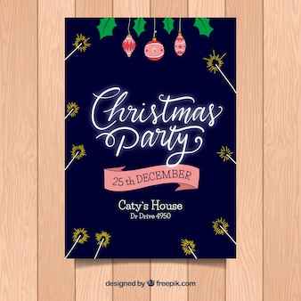 Christmas flyer with dark blue background and neon letters