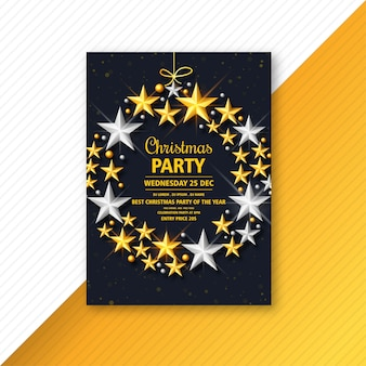 Christmas flyer with glowing stars template