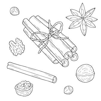 クリスマス料理とスパイス。手描きイラスト。モノクロの黒と白のインクスケッチ。線画。孤立