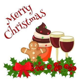 축제 장식으로 크리스마스 음식 카드 쿠키입니다. 장식 디저트 전통적인 크리스마스 음식 축제 축 하 카드입니다. 집에서 만든 케이크 진저 크리스마스 음식 휴일 장식 디저트.