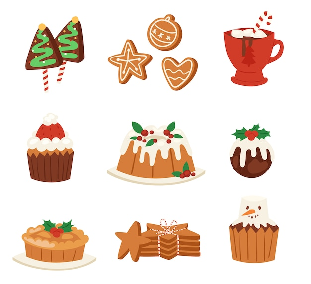 Christmas food  desserts holiday decoration xmas family diner sweet celebration meal illustration. traditional festive winter cake homemade x-mas party