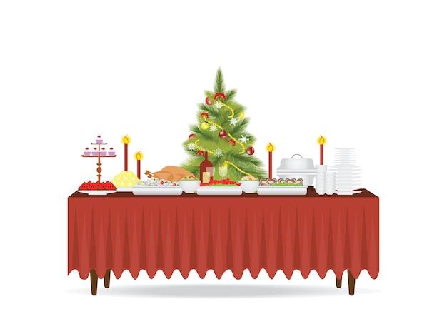 흰색 배경에 고립 된 크리스마스 음식