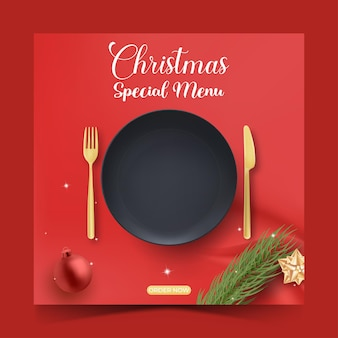 プロモーション用のクリスマス料理または料理のソーシャルメディア投稿テンプレート