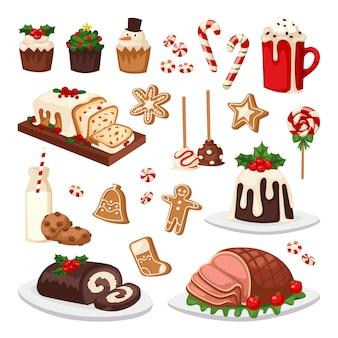 Christmas food  set.
