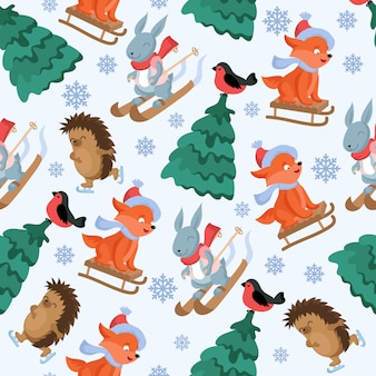 Christmas forest animals vector seamless pattern. funny woodland animal characters